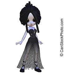 Toon Halloween Vampire Woman - Cute Toon Vampire woman in a...