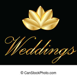 Golden lotus flower logo - Lotus flower symbol of weddings