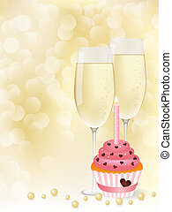 Champagne & cupcake - Vector picture champagne and cupcake