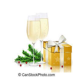 New year card - New year greeting card with champagne