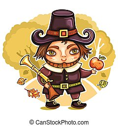 Thanksgiving pilgrim 2 - Thanksgiving happy cartoon pilgrim...