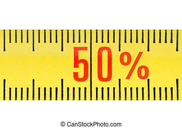 Ruler sale 50 percent concept isolated.