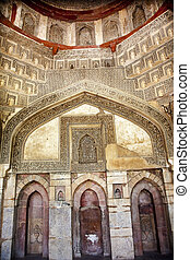 Decorations Inside Ancient Sheesh Shish Gumbad Tomb Lodi Gardens New Delhi India