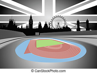 stadium with London skyline - Illustration of the stadium...