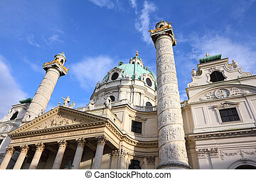 Karlskirche, Vienna - Vienna, Austria - famous Karlskirche...