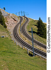 Railroad tracks in the alps
