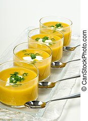 Butternut Squash Soup Appetizer - Four small glass bowls...