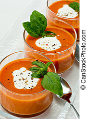 Tomato Soup Appetizer - Small glass bowls filled with tomato...