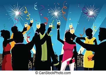 Novo, ano, celebração, Partido