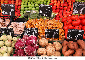 Market place - Vegetable stand at a marketplace in Vienna,...