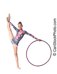 Young gymnast stand on split with hoop