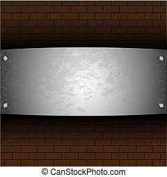 vector steel plate on brick for your design