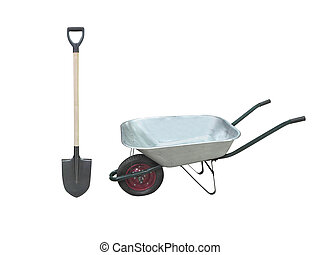 wheelbarrow and spade - Image of wheelbarrow and spade under...