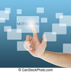 mão, apertando, touchscreen, motivação,...