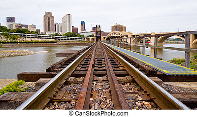 Railroad Tracks in Saint Paul - Railroad Tracks Leading Into...