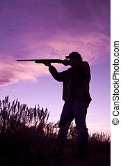 Hunter shooting in Sunset - a bird hunter shooting in the...