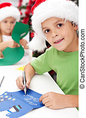 Making and writing christmas greeting cards