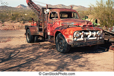 Vintage Tow Truck - Old vintage tow truck - 75 megapixel...