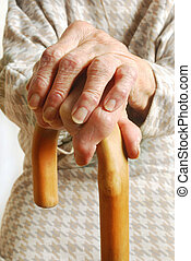 Old Ladies hands with walking stick - My mother at 90 years...