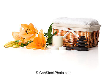 Aroma Therapy - Towels, candle, stone and flower in health...