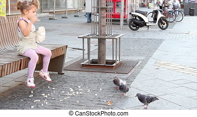little girl feeding pigeons