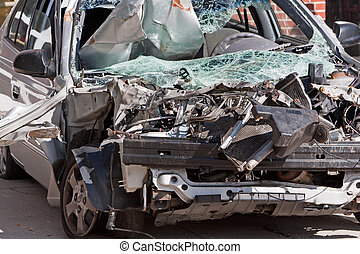 Car Wreck - Close-up of damage created by an auto accident