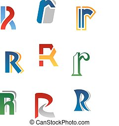 Alphabet letter R - Set of alphabet symbols and elements of...