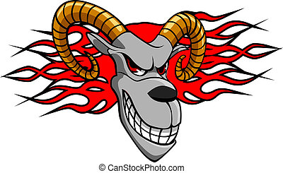 Angry goat with fire flames for tattoo design