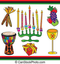 Kwanzaa clipart elements and icons isolated on white