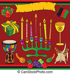 Kwanzaa clipart elements and icons with banner