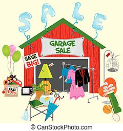 Garage Sale - Garage sale or yard sale with all sorts of...