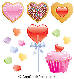 Heart Shaped Valentine Treats isolated on white