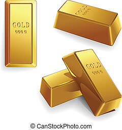 vector set of gold bars - minted bars at different angles...