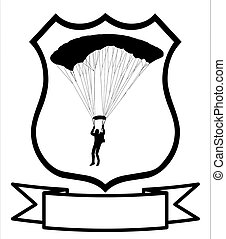 Parachuter Shield - Isolated Image of a Parachuter or Sky...