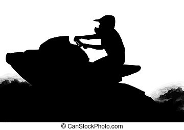Jet-ski Racer on Water - Isolated Image of Jet-Ski Racer on...