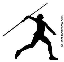 Javelin Thrower - Isolated Image of a Male or Female Javelin...