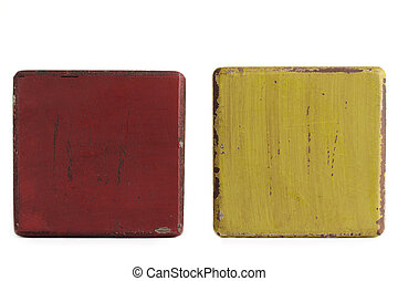 Grungy blocks. - Two grungy worn wooden blocks on a white...