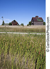 Old farm buildings in the middle of field - Old farm...