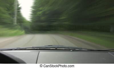Green timelapse drive. POV. - Sped-up footage of very twisty...