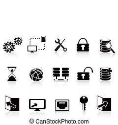 black database and technology icon - the set of black...
