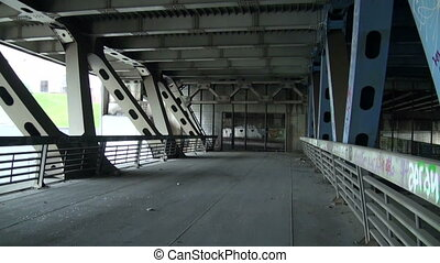 The reinforced concrete bridge. Metal constructions.