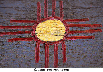 New Mexico symbol on the wooden wall