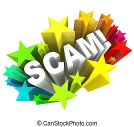 Scam 3D Word Swindle Con Game to Cheat You Out of Money -...