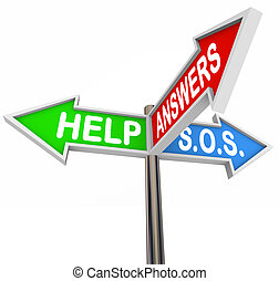 Help Support 3-Way Street Signs for Assistance and Direction...