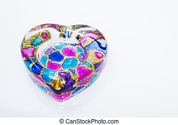 Decorative Glass - Heart-shaped decorative multi-colored...