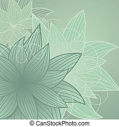 Green background with flowers - beautiful background with...