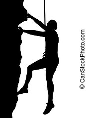 Abseiling Man - Isolated Image of a Male Abseiler Climbing a...