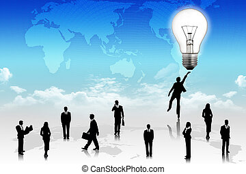 Business people with world map background - Business people...