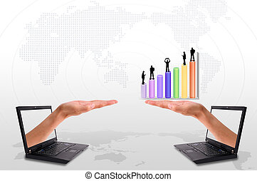 Hand out of an Laptop with silhouette people and graph -...
