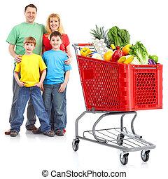 買い物, カート, 家族, 幸せ